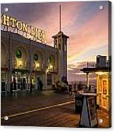 Winter Sunset Over Brighton Pier In England Acrylic Print