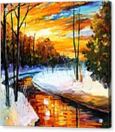 Winter Sunset - Palette Knife Oil Painting On Canvas By Leonid Afremov Acrylic Print
