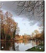 Winter Sunshine On The Wey Canal Surrey Uk Acrylic Print