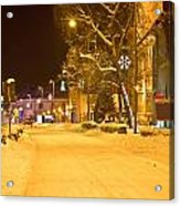 Winter Time Street Scene In Krizevci Acrylic Print