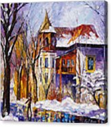 Winter Town - Palette Knife Oil Painting On Canvas By Leonid Afremov Acrylic Print