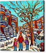 Winter Walk Montreal Paintings Snowy Day In Verdun Montreal Art Carole Spandau Acrylic Print