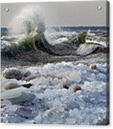 Winter Waves At Whitefish Dunes Acrylic Print