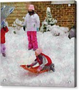 Winter - Winter Is Fun Acrylic Print by Mike Savad