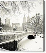 Winter's Touch - Bow Bridge - Central Park - New York City Acrylic Print