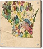 Wisconsin Map Vintage Watercolor Acrylic Print