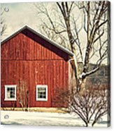 Wise Old Barn Winter Time Acrylic Print