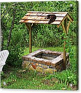 Wishing Well And Cat Acrylic Print