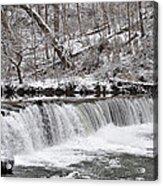 Wissahickon Waterfall In Winter Acrylic Print