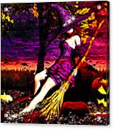 Witch In The Pumpkin Patch Acrylic Print