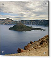 Wizard Island - Crater Lake Oregon Acrylic Print by Christine Till