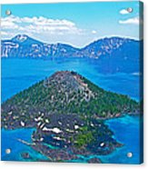 Wizard Island From Watchman Overlook In Crater Lake National Park-oregon  Acrylic Print