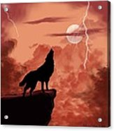 Wolf Howling In The Night Acrylic Print