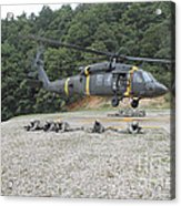 Wolfhounds Air Assault From A Uh-60 Acrylic Print