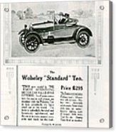 Wolseley 1923 1920s Usa Cc Cars Acrylic Print