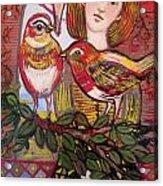 Woman And Birds Acrylic Print