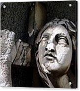 Woman And Cross Acrylic Print