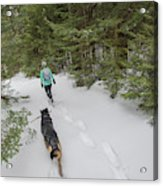 Woman And Dog Walking In Forest Acrylic Print