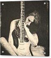 Woman And Guitar Acrylic Print