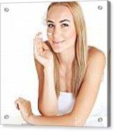Woman Apply Anti Wrinkle Cream  Acrylic Print