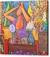 Woman At Dressing Table Acrylic Print by Chaline Ouellet