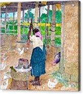 Woman Beating Cassava Jamaica Acrylic Print