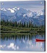 Woman Canoeing In Wonder Lake Alaska Acrylic Print