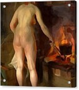 Woman Cooking Over An Open Fire Acrylic Print