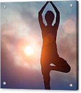 Woman Doing Yoga Tree Pose Acrylic Print