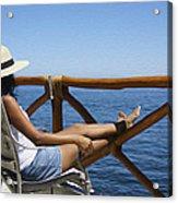 Woman Enjoying The View  Acrylic Print