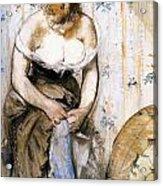Woman Fastening Her Garter Acrylic Print