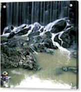 Woman Flyfishing Below Waterfall Acrylic Print