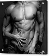 Woman Hands Touching Muscular Man's Body Acrylic Print
