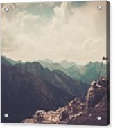 Woman Hiker On A Top Of A Mountain Acrylic Print