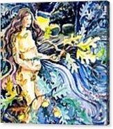 Woman Holding An Acorn -  Acrylic Print by Trudi Doyle