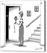 Woman Holding Lamp Stands At Dark Bedroom Doorway Acrylic Print