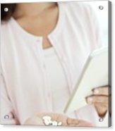 Woman Holding Pills And Digital Tablet Acrylic Print