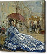 Woman In A Blue Dress Under A Parasol Acrylic Print