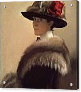 Woman In A Fur Hat Acrylic Print by Gretchen Woodman Rogers