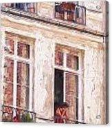 Woman In A Paris Window Acrylic Print