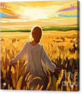 Woman In A Wheat Field Acrylic Print