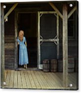 Woman In Cabin Doorway Acrylic Print