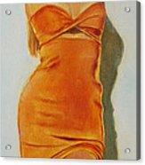 Woman In Orange Dress Acrylic Print
