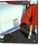 Woman In Red Poodle Skirt And Saddle Acrylic Print