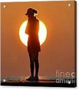 Woman In Sunrise Acrylic Print