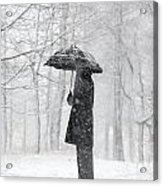 Woman In The Forest With An Umbrella Acrylic Print
