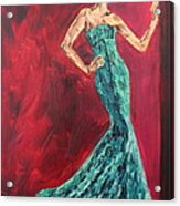 Woman In The Green Gown Acrylic Print by Lee Ann Newsom