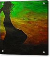 Woman In The Wind Acrylic Print by Haleema Nuredeen