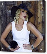 Woman In White Palm Springs Acrylic Print