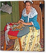 Woman Making Lace In Louisbourg Living History Museum-1744-ns Acrylic Print